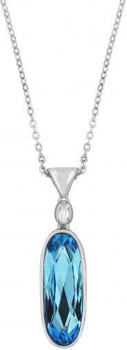 Aurora Rhodium Plated Crystal Drop Pendant