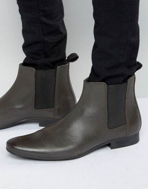Frank Wright Chelsea Grey Leather Boot