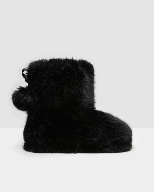 Ted Baker Pom-pom Faux Fur Black Slipper