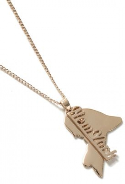 Topman Mens Gold Look New York Tag *, GOLD Necklace