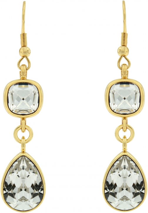 Aurora Flash Gold Plated Clear Crystal Drop Earring