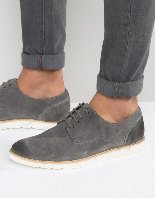 Frank Wright Derby Grey Suede Shoes