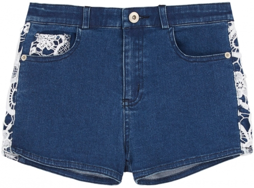 Yumi Girls Girls Crochet Denim Short