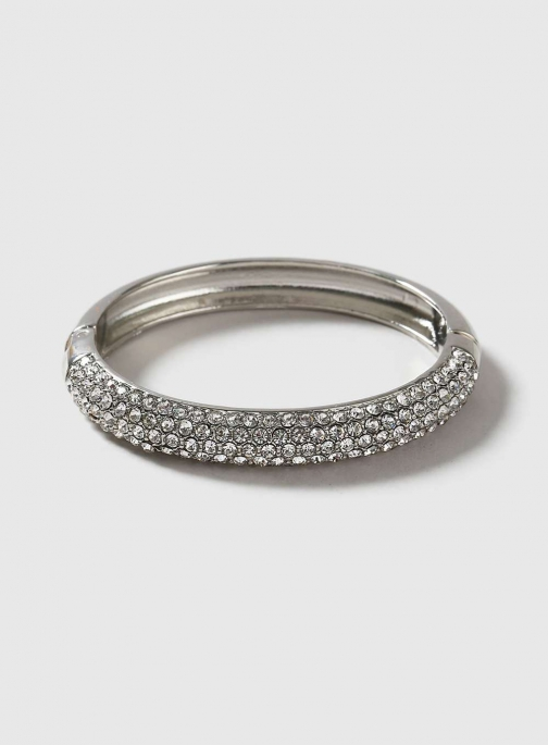 Dorothy Perkins Womens Silver Clamp - Clear Bracelet