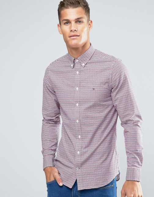 Tommy Hilfiger With 2 Colour Gingham Slim Stretch Red Shirt
