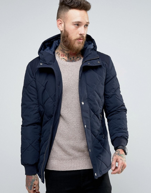Asos Quilted With Contrast Shoulder Panel Navy Jacket