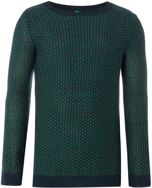 Benetton Boys Long Sleeve Texture Crew Neck Jumper