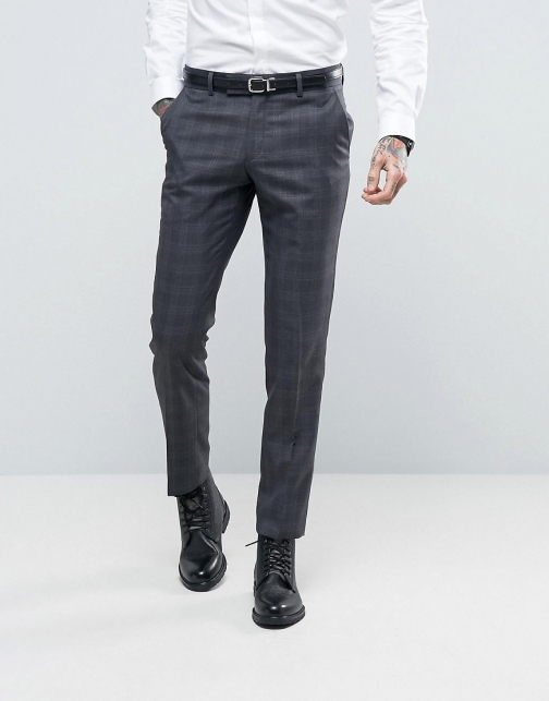 Ben Sherman Slim Fit Grey Overcheck Suit Trouser