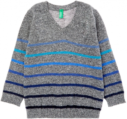Benetton Boys Knit V Neck Stripe Jumper