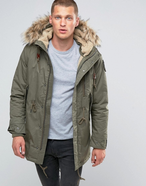 Schott M51 Fishtail Borg Lined Hood With Detachable Faux Fur Trim Parka