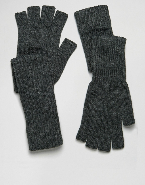 Asos Fingerless With Long Cuff Black Glove