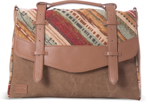 Toms Cognac Multi Texture Leather Mix Longitude Satchel