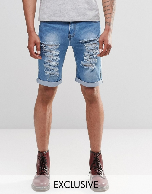 Asos Liquor & Poker Slim Extreme Rips Stonewash Blue Denim Short