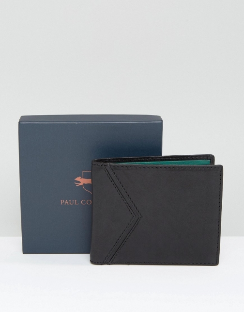 Paul Costelloe Paul C0stelloe Leather Billfold Black With Green Contrast Wallet