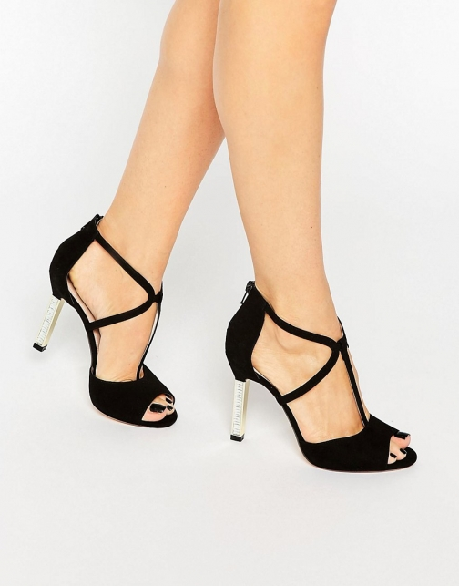 Dune Melody Cross Strap Suede Heeled Sandal