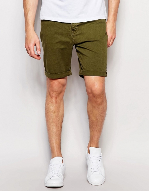 New Look 5 Pocket Chino Olive Short
