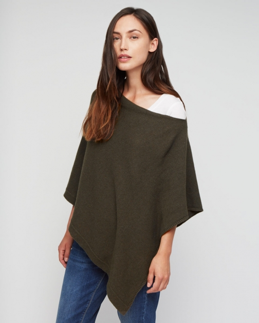Jigsaw Knitted Ribbed Border Poncho