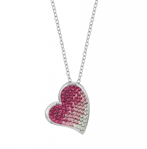 Aurora Flash Rhodium Plated Pink Heart Necklace