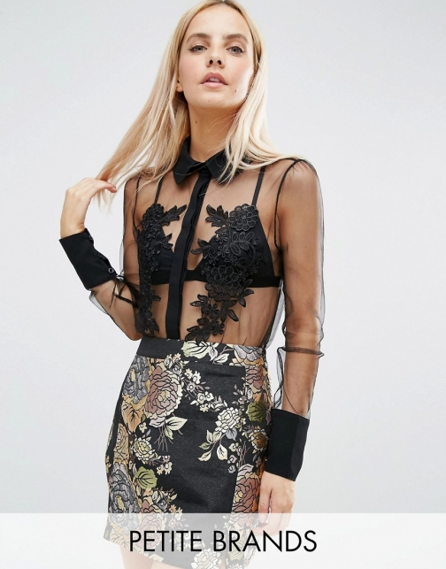 Asos Fashion Union Petite Sheer Contrast Detail With Applique Floral Detail Blouse
