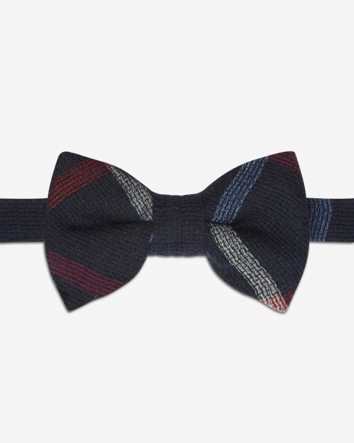 Ted Baker Checked Silk Navy Bow Tie