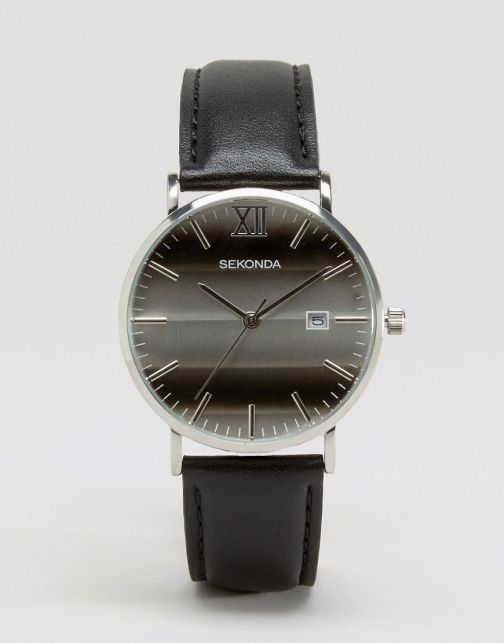 Sekonda Black Leather With Silver Dial Exclusive To ASOS Watch