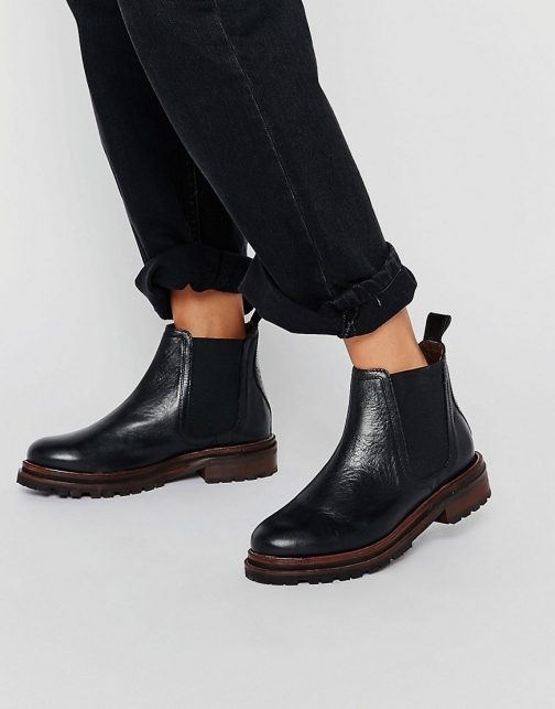 Asos Hudson London Black Leather Wistow Ankle Boot