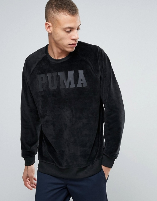 Puma Oversized Velvet Black Sweatshirt