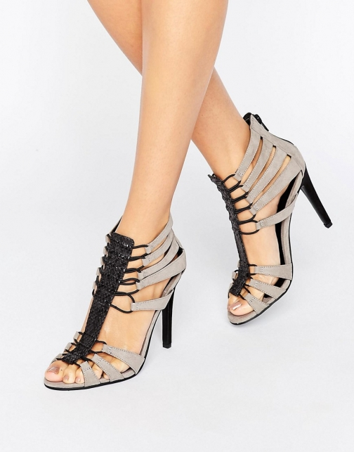 Little Mistress Grey Caged Heels Heeled Sandal