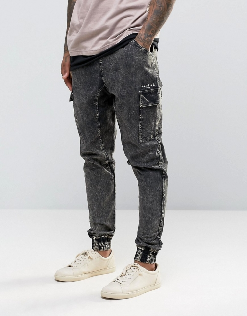 Asos Illusive London Bleached Cuffed Joggers Trouser