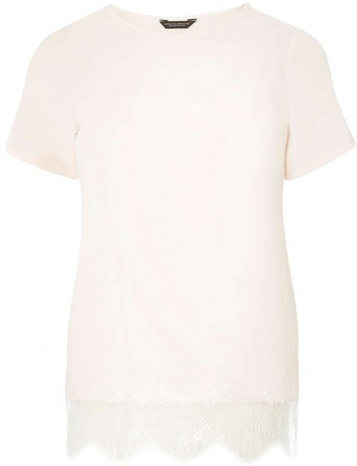 Dorothy Perkins Womens Blush Lace Hem Woven Front Tee- Pink T-Shirt