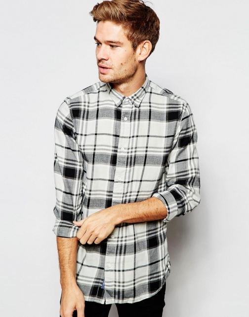 Selected Homme Brushed Monochrome Check Slim Fit Shirt