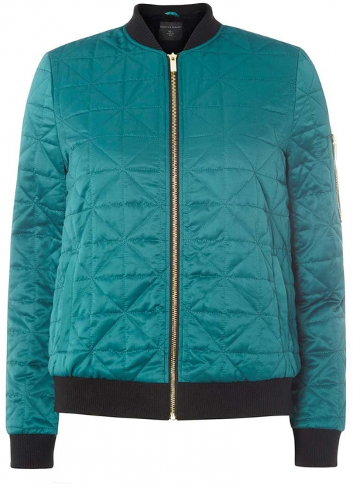 Dorothy Perkins Womens Green Lined Bomber- Green Faux Fur