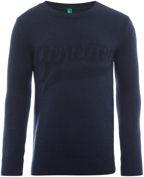 Benetton Boys Knit Crew Neck Logo Jumper
