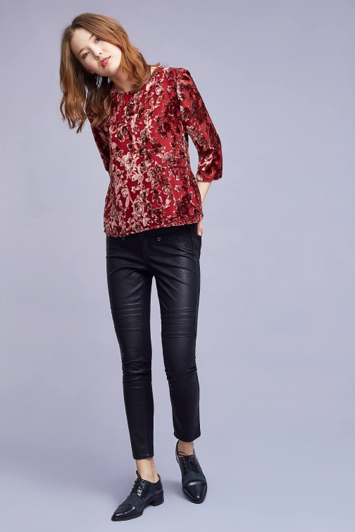 Anthropologie Krista Velvet , Red Blouse