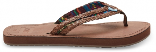 Toms Dark Brown With Green Mix Textile Women's Solana Flip-Flops Flip Flop