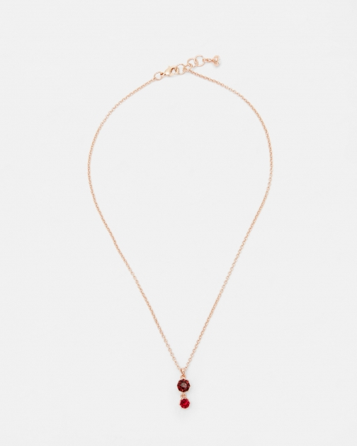 Ted Baker Crystal Necklace Dark Red Pendant