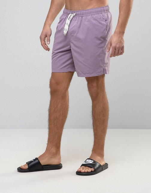 Asos Purple With Drawcord Detail Mid Length Swim Short