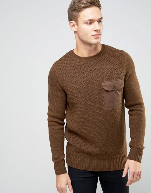 New Look With Military Pocket Brown Jumper