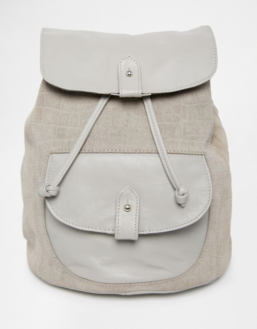 Asos Leather And Suede Embossed Croc Pocket Backpack