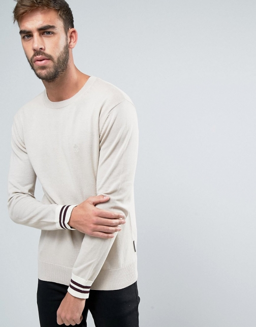 French Connection Crew Neck Knitted With Contrast Sleeve Jumper