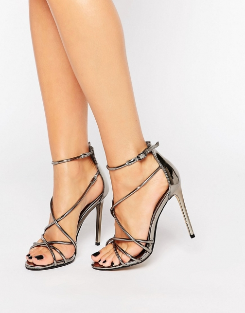 Office Spindle Pewter Metallic Strappy Heeled Sandal