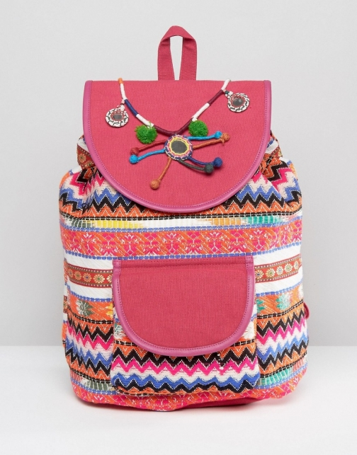 Glamorous Bright Print With Pom & Tassel Detail Backpack