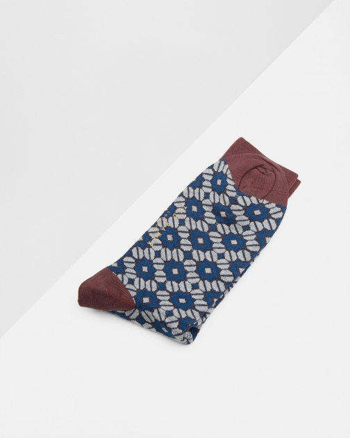 Ted Baker Geo Pattern Socks Navy
