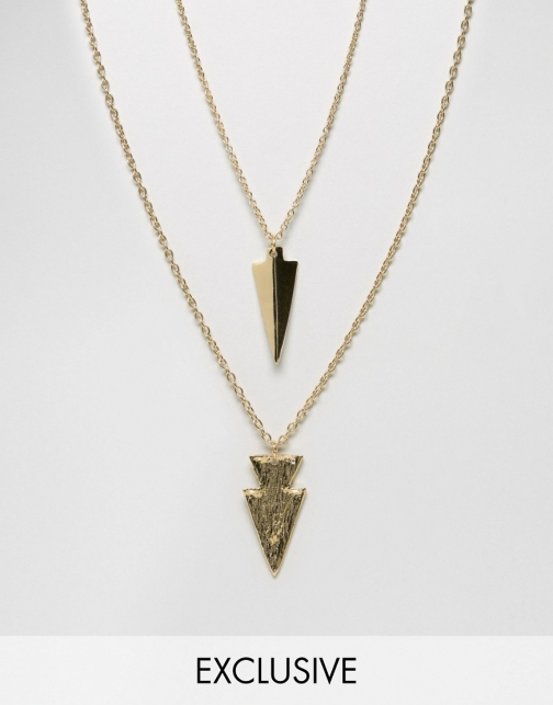 Asos DesignB Arrow 2 Pack Necklace