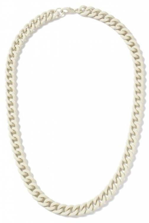 Topman Mens Cream Rubberised Chain *, Cream Necklace