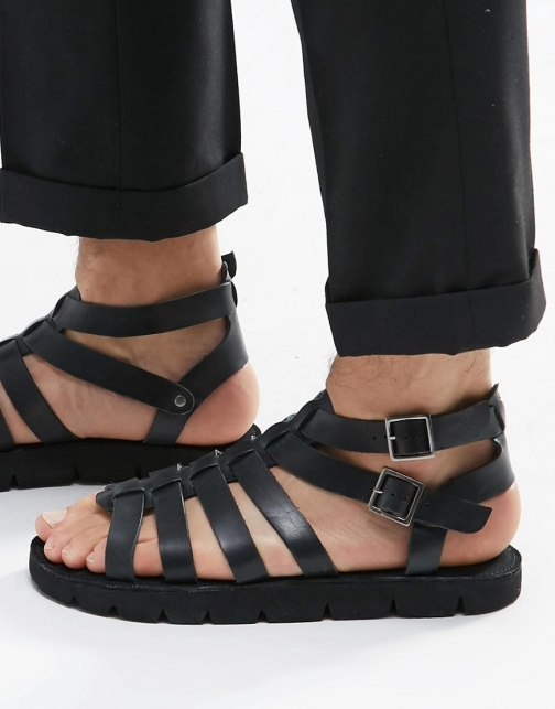 Dune Leather Black Sandal
