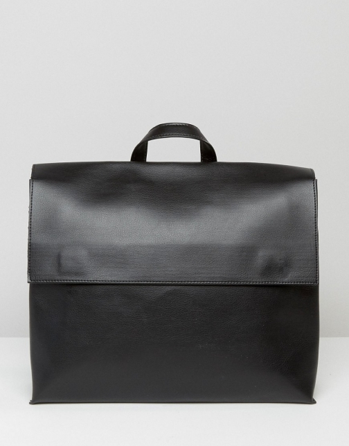 Pieces Minimal Black With Black Fastening Detail Backpack