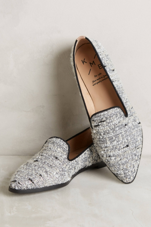 Anthropologie KMB Tweed Smoking Slipper