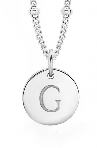 Missoma Ladies Silver Initial G With Beaded Chain Pendant