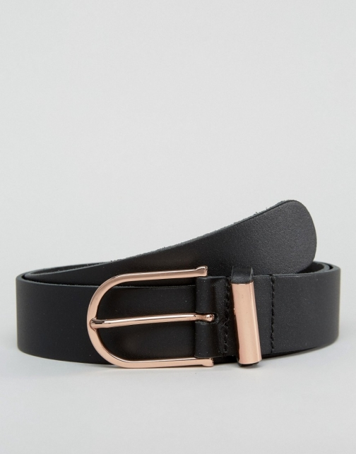 Asos Smart Leather With Rose Gold Trims Belt